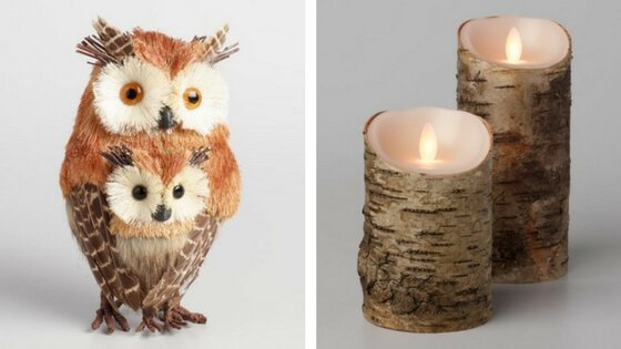 Natural Fiber Owl With Baby  and  Birch Flameless Candle  both from World Market