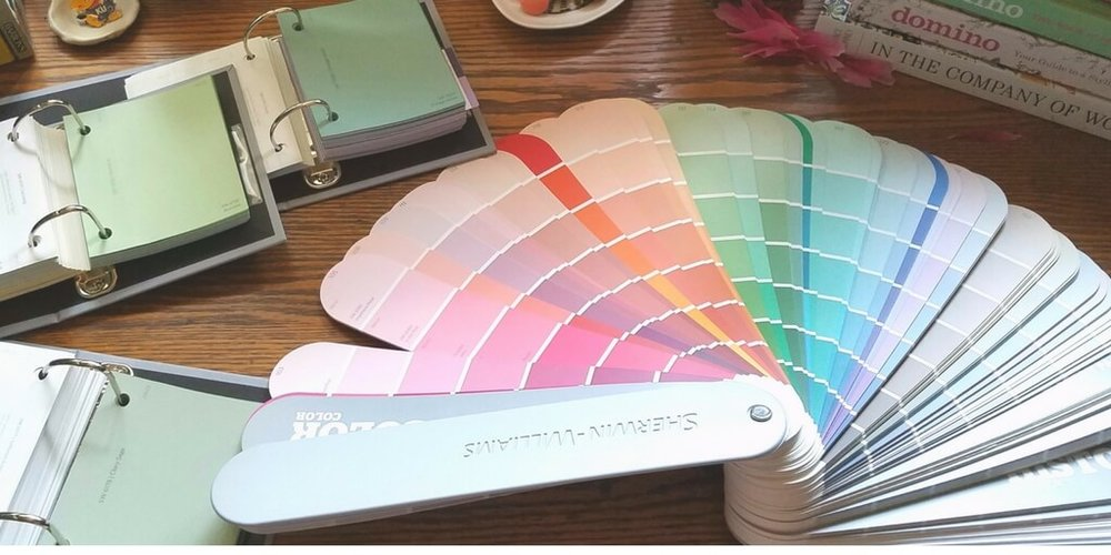 color swatches on a table online interior design process portland