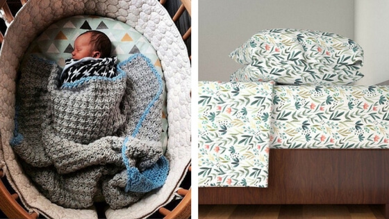 Left:  STOKKE sized bedding from LittleMooseByLiza . Right:  gorgeous twin-sized bedding from Roostery