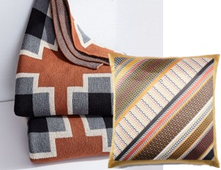 Happy Habitat Crossroads Throw:  West Elm , Diagonal Geo Stripe Silk Pillow Cover - Horseradish:  West Elm