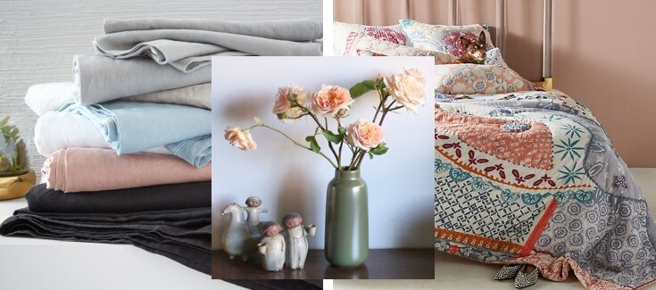 Belgian flax linen sheet set:  West Elm , Multi-stem vase:  Heath Ceramics , Laterza Quilt:  Anthropologie