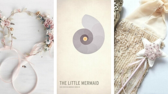 """Mother and daughter floral crown handmade by  Katerina Svetikova  available at her Etsy shop,  Serenity . The Little Mermaid print by Christian Jackson, available  here . The """"Isabella Fairy Wand"""" is handmade by Kali Lewis and available at her Etsy shop,  AdalineAndTheFairies"""