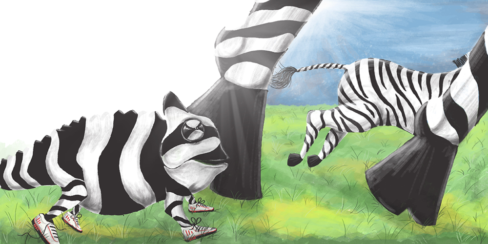 zebras running_illustration_tmk graphics
