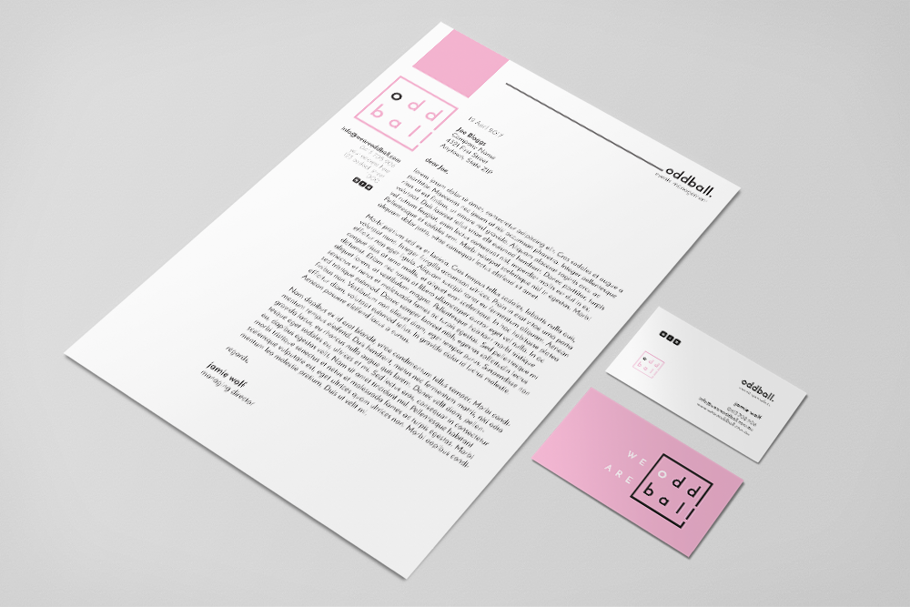 letterhead and business cards_oddball_tmk graphics_perth wa