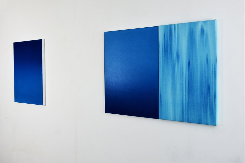 L to R:  Wu-Wei  i 2017 56cm x 76cm acrylic on primed polyester;  Stasis  Diptych 2017 102cm x 77cm. Photography by Tony Sze, Hong Kong.