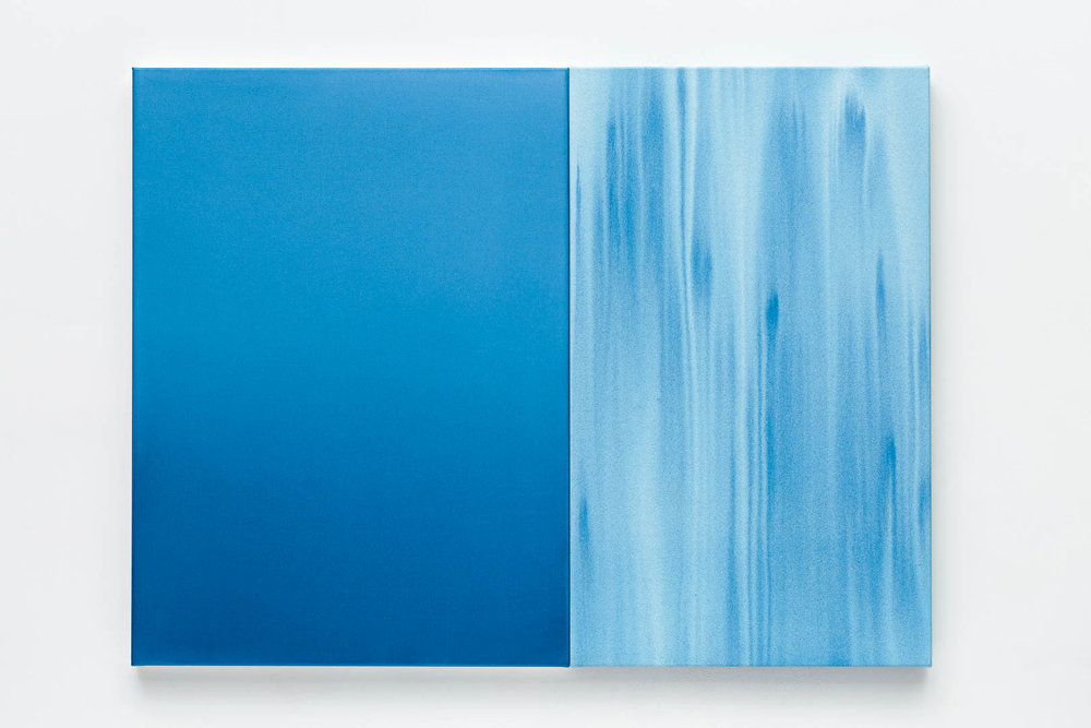 Stasis  Diptych 2017 102cm x 77cm acrylic on primed polyester. Photography by  Document Photography.