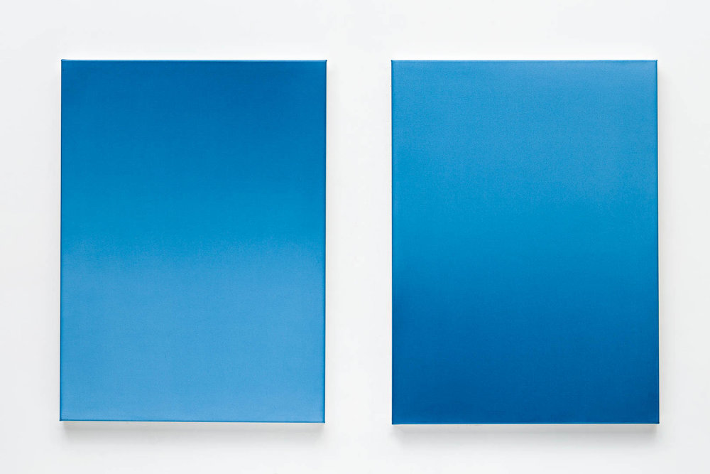 L to R:  Wu-Wei i  2017 56cm x 76cm acrylic on primed polyester;  Wu-Wei ii  2017 56cm x 76cm acrylic on primed polyester. Photography by  Document Photography