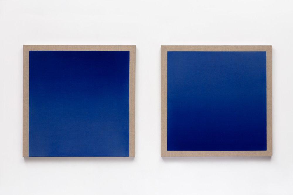 Epoque Bleue - diptych 2017 acrylic on italian linen 92cm x 92cm each