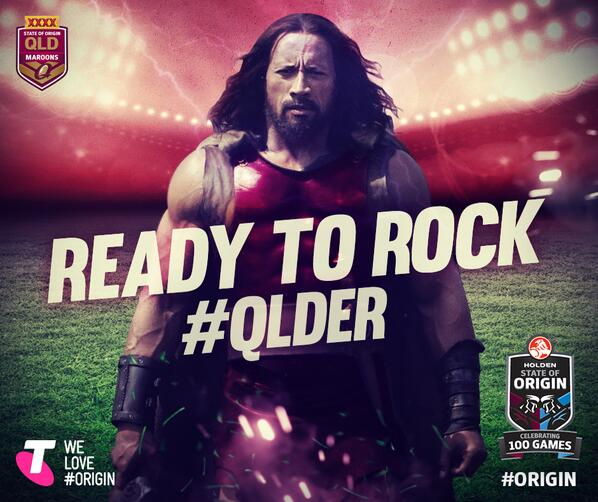Pity Dwayne Johnson supports the wrong team. But it's influential marketing. Image credit - @QLDmaroons