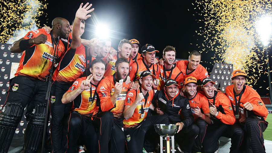 Perth Scorchers celebrate their 2015 BBL title victory. Image credit — Getty images
