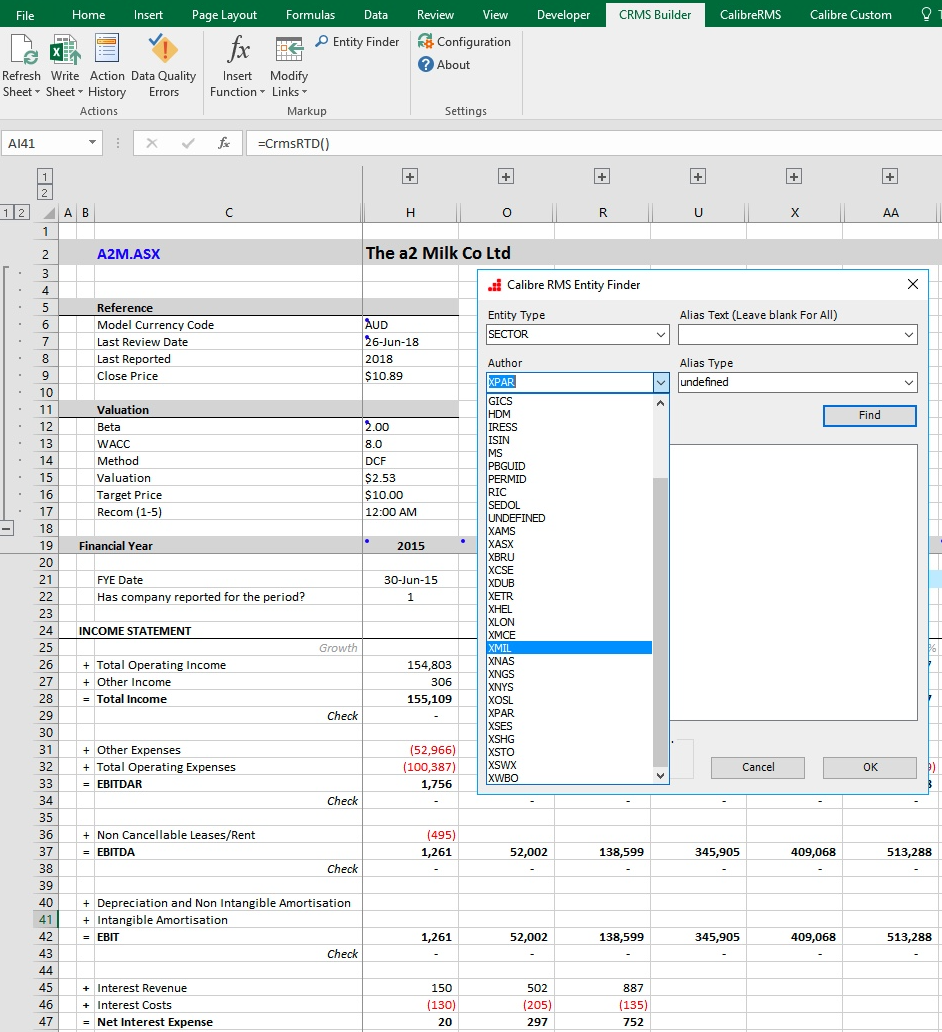 Calibre CRMS Excel model integration.