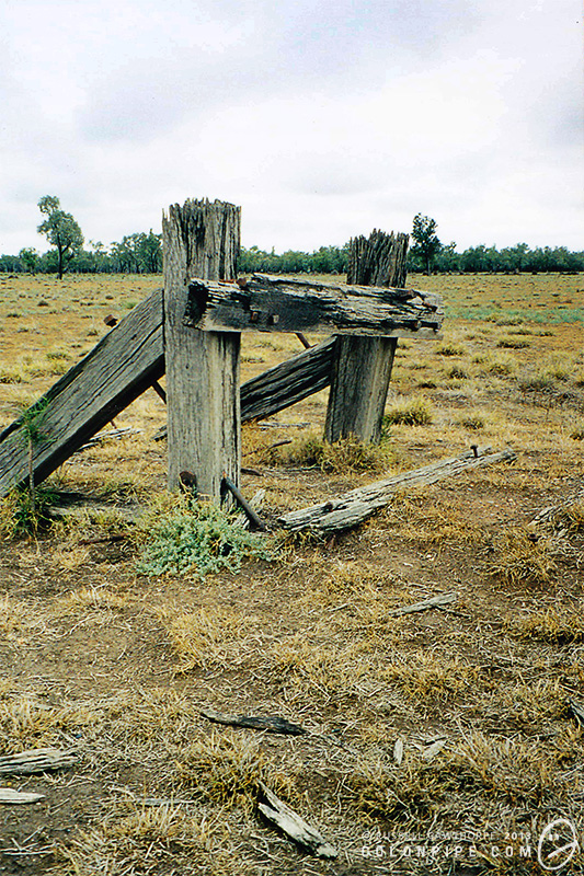 The remains of the buffer. This photograph is from 2002, before the wooden structure had rotted away and collapsed.