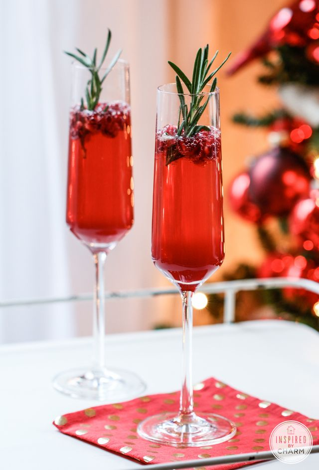 Pomegranate & Rosemary Gin Fizz (Image courtesy of  Inspired by Charm )
