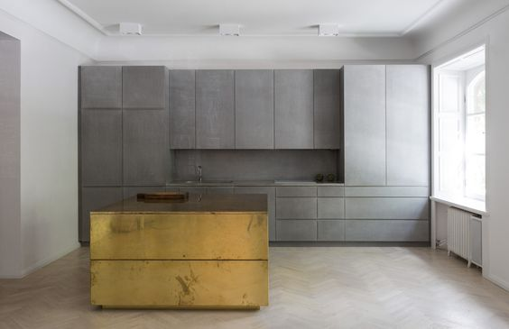 LEIBAL'S BRASS KITCHEN ISLAND