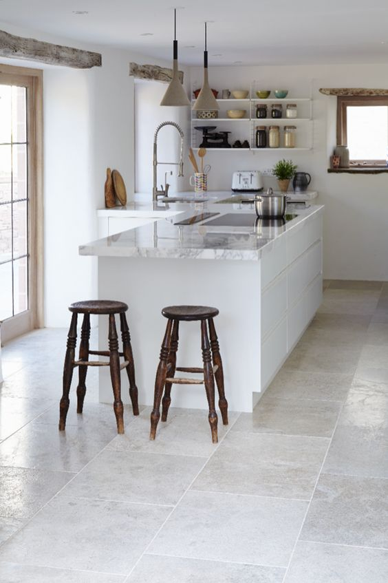 MANDARIN STONE FLOOR TILES - BLENHEIM GREY BRISHED LIMESTONE