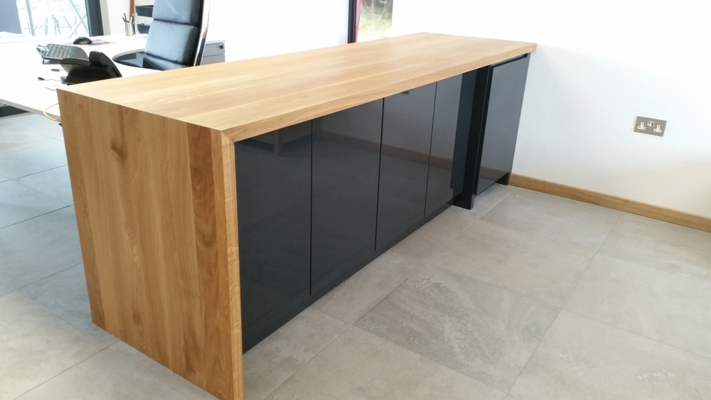 Simple, classy, efficient office furniture with full stave oak tops. #andymagin #meadowskitchens