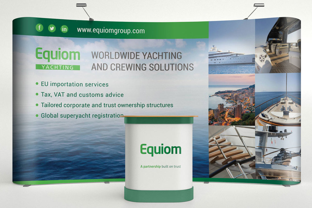 Equiom Yachting display stand and marketing collateral