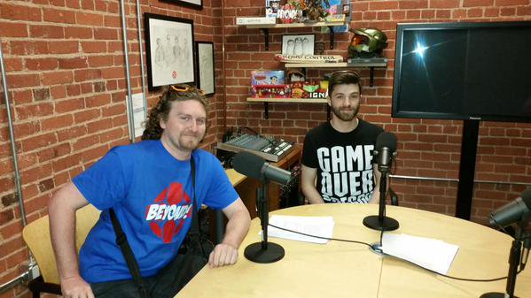 Me and Sean Pitts in the podcast room at IGN.