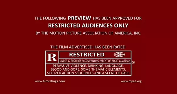The color-coding makes the MPAA trailer ratings immediately identifiable.