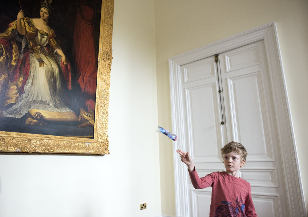 If you're going to fly a toy airplane, I say do it in an English manor where there is at least the possibility of flying it into a priceless, gilded framed painting.