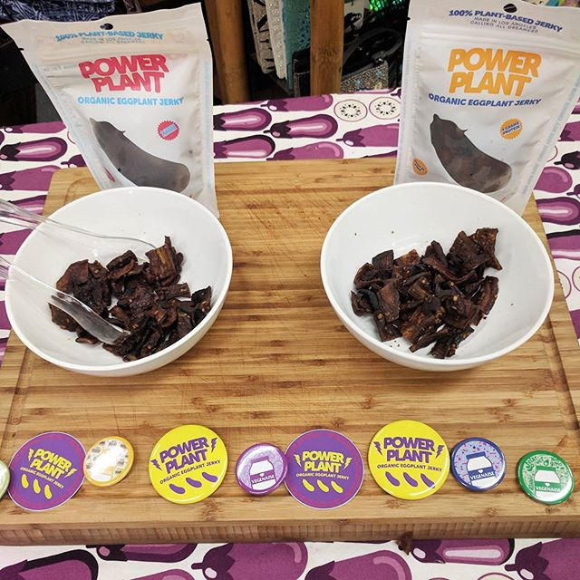 Handing out samples at @followyourheart thanks @bosskie for the dope pins!! #vegan #jerky #powerplantjerky #positivevibes #powerplant #organic #whatveganseat #soyfree #glutenfree #veganlove