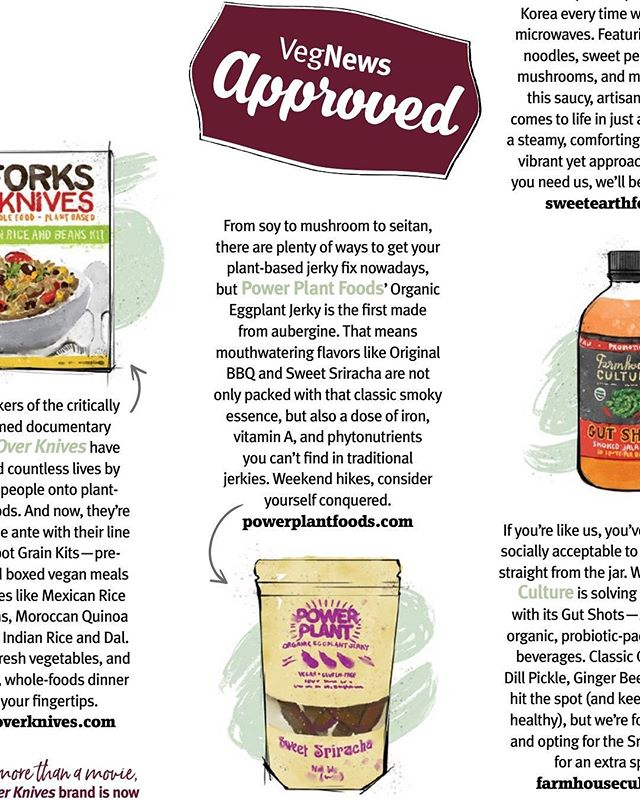 So excited and grateful to be @vegnews approved in the latest issue!! They've been super supportive from the start! #veganlove #vegan #veggiejerky #veggie #whatveganseat #forkyeah #vegnews #eggplant #eggplantjerky #sriracha #bbq #vegansnacks #veganmeat #friendsnotfood #crueltyfree #plantbased