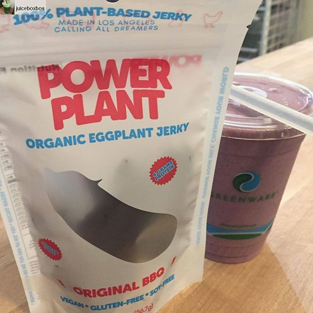 #Repost from @juiceboxbos  Best #monday #breakfast ever from guest, so jealous! - #PBJ #smoothie and @powerplantfoods #BBQ #eggplantjerky #plantstrong🌱 #vegan #glutenfree #southie #mondaymotivation