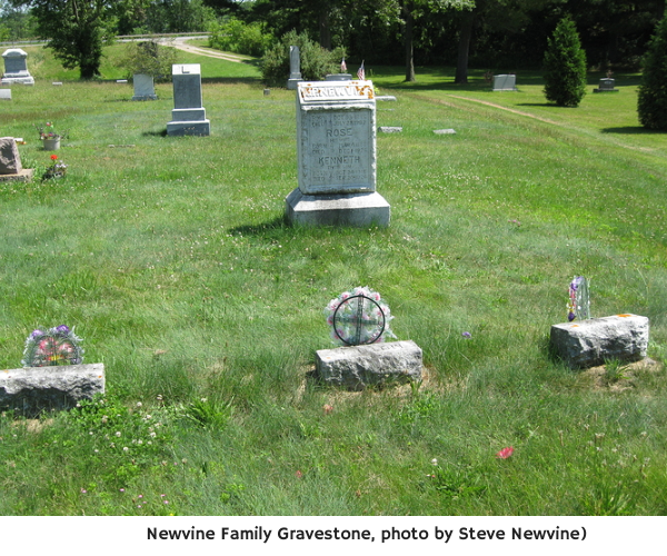 Newvine Family Gravestone, photo by