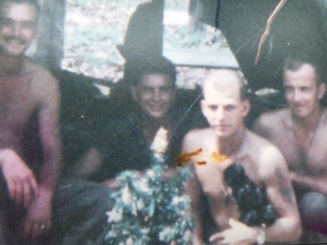 Bill Newvine (far right) celebrates Christmas 1966 in Vietnam.  From the Newvine Family Collection.