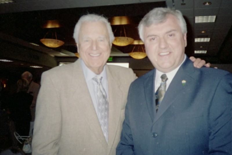 Saturday Night Live announcer Don Pardo and Steve Newvine.  Photo:  Newvine Personal Collection