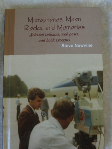 Cover of Microphones, Moon Rocks, and Memories taken as two Space Shuttle astronauts arrive in Huntsville, Alabama.  Photo:  Newvine Personal Collection