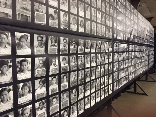 A wall full of individual Hmong community members seen near the beginning of the Hmongstory 40 exhibit at the Merced County Fairgrounds.  Photo by Steve Newvine