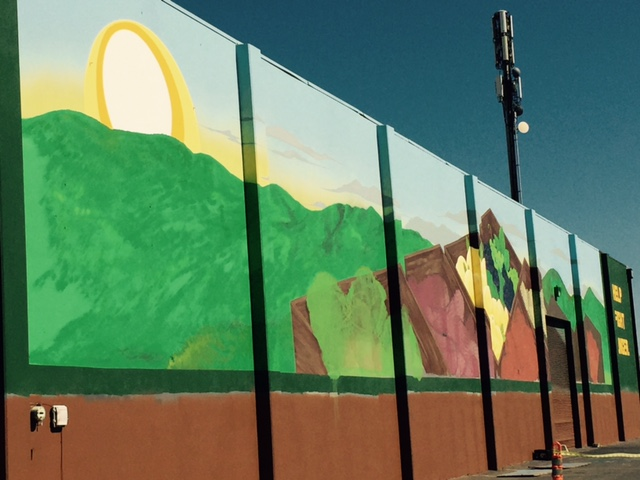 The work of artist Ramon Valencia is now part of the Merced County Food Bank warehouse.  Photo by Steve Newvine