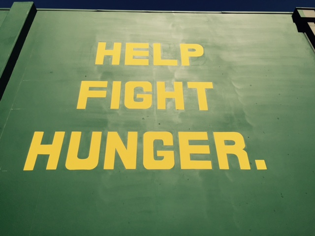The mural's message:  help fight hunger.  Photo by Steve Newvine