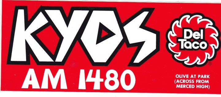 A bumper sticker from the heyday of station KYOS.  Photo from KYOS.