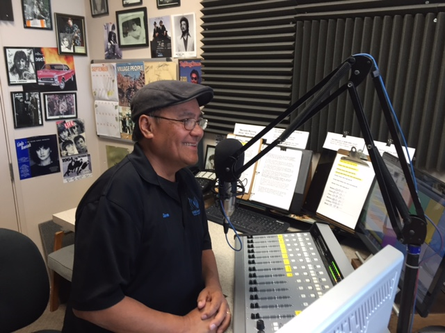 K97.5 Program Manager Dave Luna's voice is heard on station promotional announcements for KYOS.  Photo by Steve Newvine