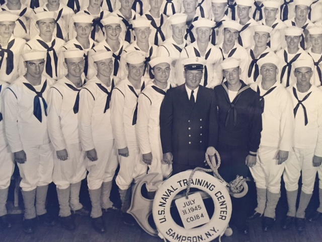 Dave Trautlein is third from the left in the top row of this picture.  He served in the US Navy in the closing days of World War II