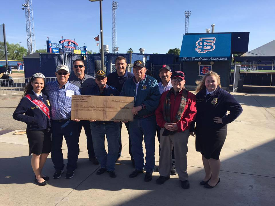 Los Banos FFA leaders and other current and former citizens from the City prior to the start of the April 14 Fresno State/Air Force Baseball Game.   Photo provided by Los Banos FFA