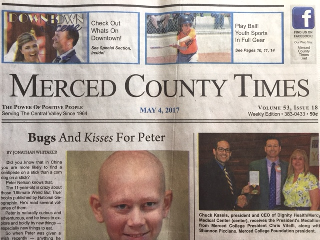 (front page of the newspaper-  Merced County Times.
