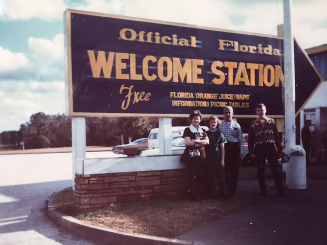 I took this picture of my family in front of the Florida Welcome Station in the early 1970s.  Photo:  Newvine Personal Collection