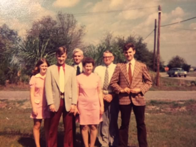 The family dressed up for Sunday dinner at a buffet-style restaurant during one of our trips to visit my grandparents in Florida.  Photo:  Newvine Personal Collection
