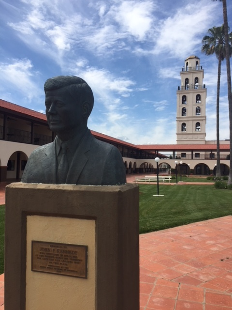 A statue of John F. Kennedy at The Hotel Mission De Oro in Santa Nella, Merced County.  Photo by Steve Newvine