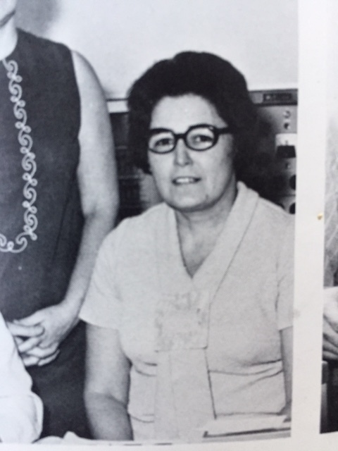 Mrs. Mekkelson, our high school principal's secretary. Photo:  South Lewis School Yearbook.