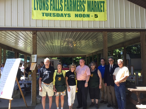 Christine Chaufty (third from the left) devoted a lot of her time away from work on such community endeavors as the Lyons Falls Farmers Market.  Photo: LivingInLewisCounty.com