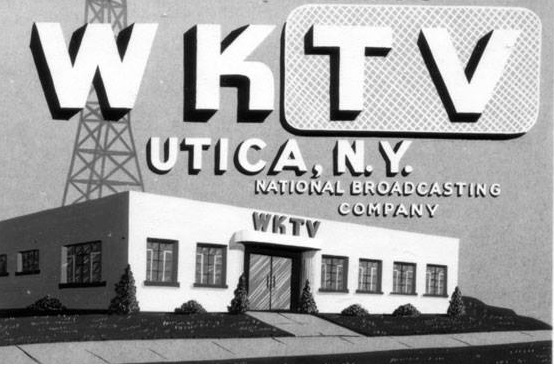An art card depicting television station WKTV in Utica, New York.