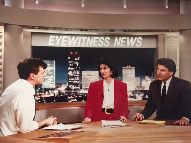 Working with the WROC-TV anchor team where I served as Executive Producer, rounding out a twenty-year career in broadcasting.  Photo: Newvine Personal Collection.