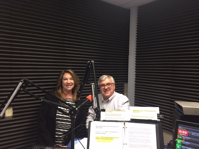 Martha Hermosillo, Executive Director of First 5 Merced County with guest host Steve Newvine at radio station KYOS.