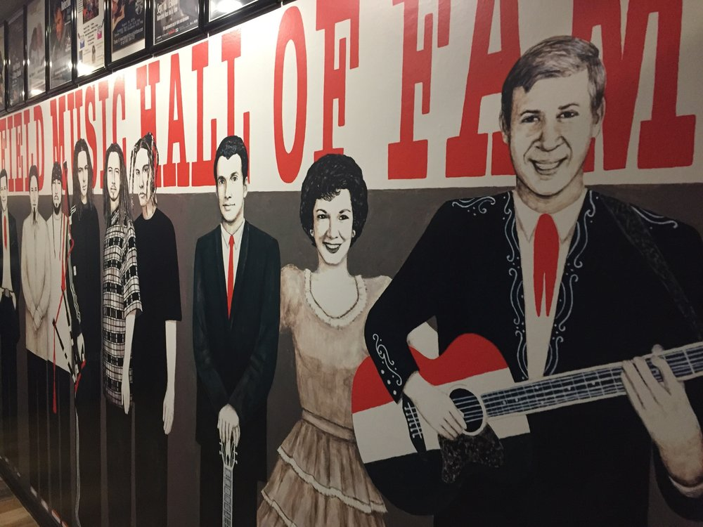 Life-sized drawings of some of the honorees at the Bakersfield Music Hall of Fame. Photo- Steve Newvine