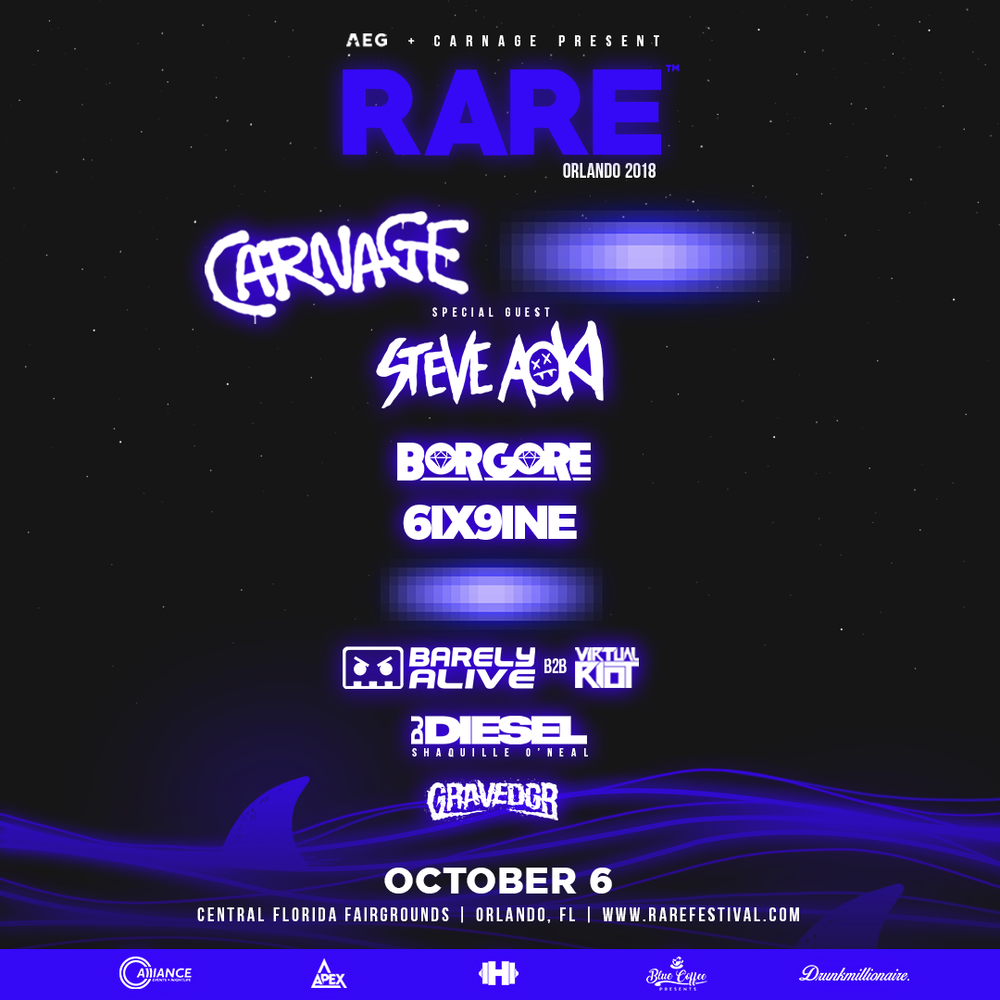 Steve Aoki, Borgore, 6ix9ine, and many more in attendance for Rare festival.png