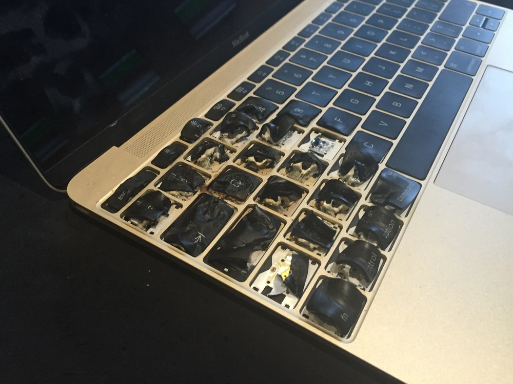 A macbook pro that went on fire